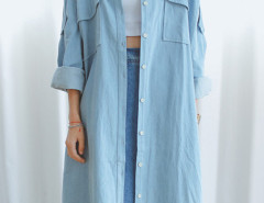 Light Blue Shirt Collar Button Up Tie Waist Longline Denim Coat Choies.com online fashion store United Kingdom Europe