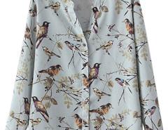 Light Blue V-neck Bird Print Long Sleeve Shirt Choies.com online fashion store United Kingdom Europe