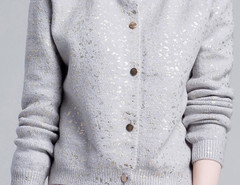Light Gray Sequin Detail Button Up Long Sleeve Caidigan Choies.com online fashion store United Kingdom Europe
