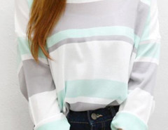 Light Green Stripe Long Sleeve Knitted Jumper Choies.com online fashion store United Kingdom Europe
