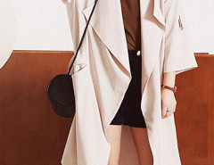 Light Khaki Lapel 3/4 Sleeve Tie Waist Trench Coat Choies.com online fashion store United Kingdom Europe