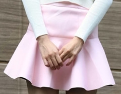 Light Pink Flounce Hem PU Mini Skirt Choies.com online fashion store United Kingdom Europe