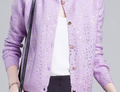 Light Purple Sequin Detail Button Up Long Sleeve Caidigan Choies.com online fashion store United Kingdom Europe