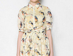 Light Yellow Bird Print Tied Waist Half Sleeve Shirt Dress Choies.com online fashion store United Kingdom Europe