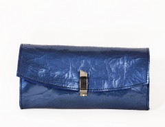 Light blue shrunken patent leather mini clutch Carnet de Mode online fashion store Europe France