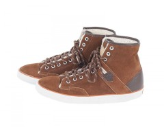 Lined Brown Suede High Top Sneakers - Raymond Carnet de Mode online fashion store Europe France