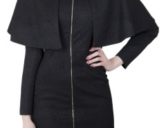 Long Black Cape in relief Carnet de Mode online fashion store Europe France