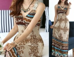 Maxi Lace Back Sexy Women Summer Bohemia V-Neck Long Beach Dresses Cndirect online fashion store China