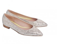 Melissa Silver Glitter Leather Pointed Ballet Flats Carnet de Mode online fashion store Europe France