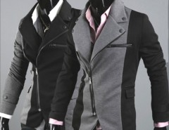 Men Cool Slim Casual Blazer Suit Top Zip Dress Jacket Black Dark Grey Fashion Cndirect online fashion store China