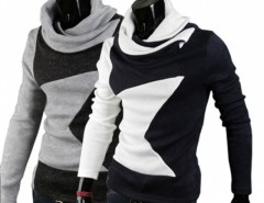 Men Hoodies Style Big Star Pieced Turtleneck Pullover Sweater Cndirect online fashion store China