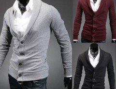 Men Stylish Turndown Collar V-Neck Cardigan Sweater Cndirect online fashion store China