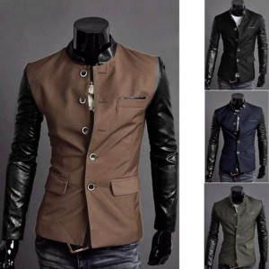 Men Synthetic Leather Splice Casual Suit Coat Jacket New 4 Colors/ Sizes Cndirect online fashion store China
