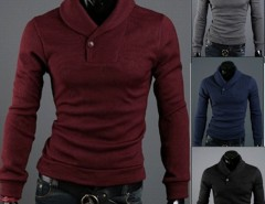 Men's Slim Warm Pullover Lapel Sweater Knit Shirts Cndirect online fashion store China