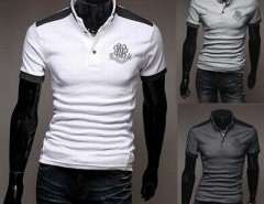 Men's Stylish Basic Slim Fit Short Sleeve T-Shirt Casual Polo Shirt 3 Colors M-XXL Cndirect online fashion store China