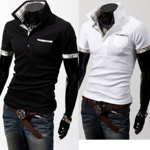 Men's Stylish Coat Slim Short Sleeve Jacket Fit Checked T-Shirts Tee Tops Cndirect online fashion store China
