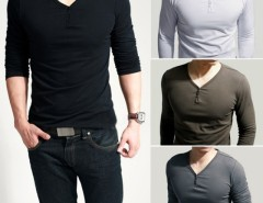 Men's Stylish Comfort Lycra Deep V-Neck Long Sleeves T-Shirt Tunic Button Tops/Tees Cndirect online fashion store China