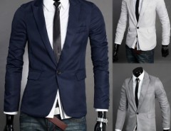 Men's V Neck One Button Blazer Suit Coat Jacket Cndirect online fashion store China