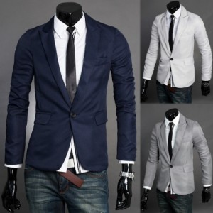 Men's V Neck One Button Blazer Suit Coat Jacket Cndirect online fashion store China