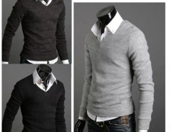 Mens Premium Stylish Slim Fit V-neck Sweater Jumper Tops Cardigan Cndirect online fashion store China