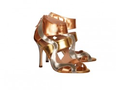 Mina Metallic Cut Out Leather Heeled Open Sandals Carnet de Mode online fashion store Europe France