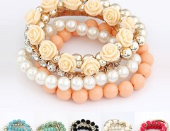 Mix Flower Beads Stretch Bracelet Temperament Cndirect online fashion store China