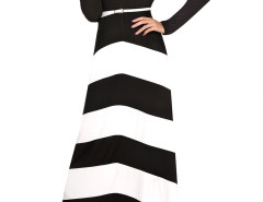 Monochrome Chevron Print Belt Waist Maxi Dress Choies.com online fashion store United Kingdom Europe