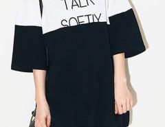 Monochrome Color Block Letter Print 3/4 Sleeve T-shirt Dress Choies.com online fashion store United Kingdom Europe