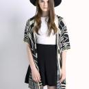 Monochrome Geometric Pattern Button Detail Cardigan Choies.com online fashion store United Kingdom Europe