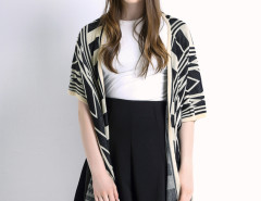 Monochrome Geometric Pattern Button Detail Cardigan Choies.com online fashion store United Kingdom Europe