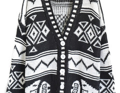 Monochrome Geometric Pattern Long Sleeve Button Up Cardigan Choies.com online fashion store United Kingdom Europe