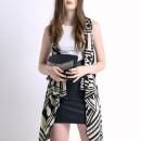 Monochrome Geometric Sleeveless Waterfall Knitted Cardigan Choies.com online fashion store United Kingdom Europe