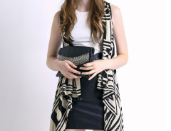 Monochrome Geometric Sleeveless Waterfall Knitted Cardigan Choies.com online fashion store United Kingdom Europe