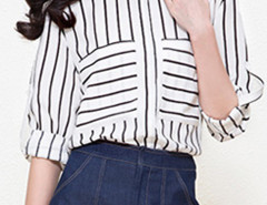 Monochrome Mix Stripe Button Pocket Roll Up Sleeve Split Shirt Choies.com online fashion store United Kingdom Europe
