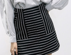 Monochrome Mixed Stripe Pocket Detail Mini Pencil Skirt Choies.com online fashion store United Kingdom Europe