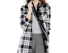 Monochrome Plaid Print Belt Waist Longline Shirt Choies.com online fashion store United Kingdom Europe