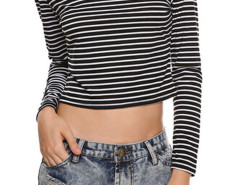 Monochrome Stripe Long Sleeve Crop Top Choies.com online fashion store United Kingdom Europe