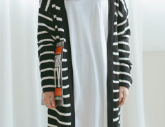 Monochrome Stripe Long Sleeve Longline Cardigan Choies.com online fashion store United Kingdom Europe