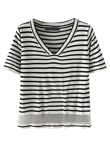 Monochrome Stripe V-neck Sheer Panel Short Sleeve Knit T-shirt Choies.com online fashion store United Kingdom Europe