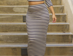 Monochrome Stripe Wrap Front 3/4 Sleeve Crop Top And Bodycon Maxi Skirt Choies.com online fashion store United Kingdom Europe