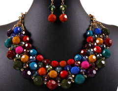 Multicolor Beaded Chain Statement Nacklace And Earrings Pack Choies.com online fashion store United Kingdom Europe