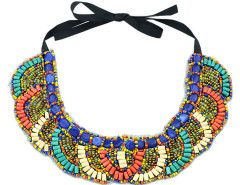 Multicolor Beaded Geo Pattern Bow Tie Necklace Choies.com online fashion store United Kingdom Europe