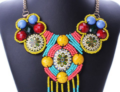 Multicolor Beaded Tassel Boho Statement Collar Necklace Choies.com online fashion store United Kingdom Europe