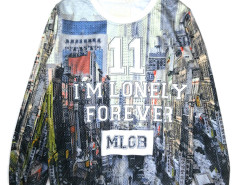 Multicolor Building And Letter Print Long Sleeve Sweatshirt Choies.com online fashion store United Kingdom Europe