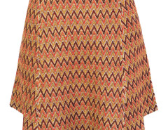 Multicolor Chevron Jacquard High Waist Knit Skirt Choies.com online fashion store United Kingdom Europe