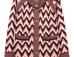 Multicolor Chevron Print Button Up Pocket Detail Cardigan Choies.com online fashion store United Kingdom Europe