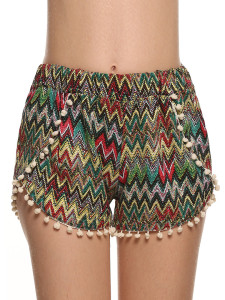 Multicolor Chevron Print Elastic Waist Pom Pom Shorts Choies.com online fashion store United Kingdom Europe