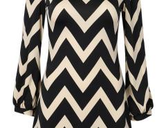 Multicolor Chevron Print Long Sleeve Blouse Choies.com online fashion store United Kingdom Europe
