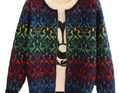 Multicolor Floral Pattern Zipper Front Cardigan Choies.com online fashion store United Kingdom Europe