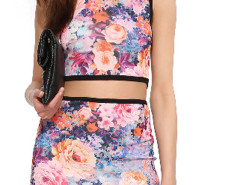 Multicolor Floral Round Neck Tight Crop Top Choies.com online fashion store United Kingdom Europe